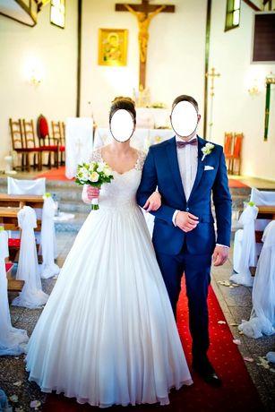 Suknia ślubna z muślinu rozmiar 36 na wzrost 170 (obcas 8cm)
