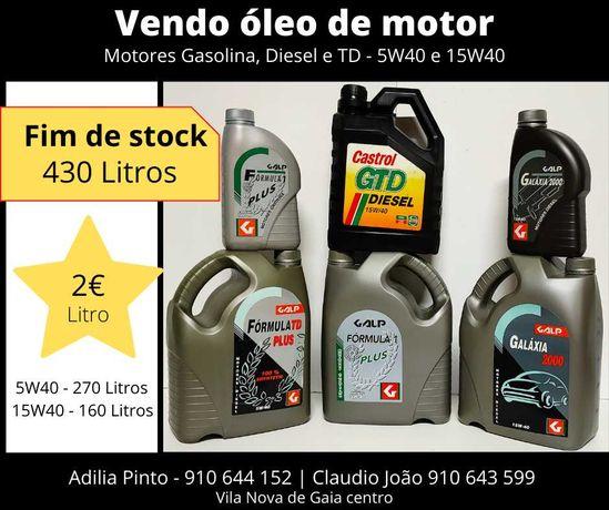 vendo oleo de motor de carro 5w40 ou 15w40 - fim de stock