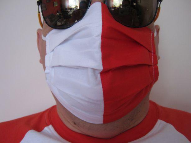 Maska Maseczka biało czerwona kieszonka na filtr POLSKA osłona twarzy