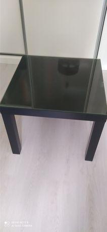 Mesa de apoio preta com vidro para proteger