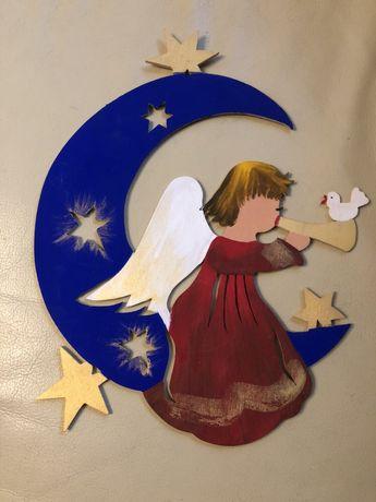 Ozdoba ze sklejki-aniołek do powieszenia na ścianę