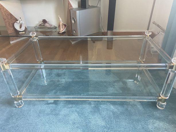 Mesa de centro acrilica com tampos em vidro