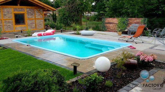 Basen ogrodowy kąpielowy poliestrowy gotowy 6,20x3,20x1,55 PRODUCENT