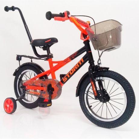 Детский велосипед с родительской ручкой 14-STORM Сборка 85%