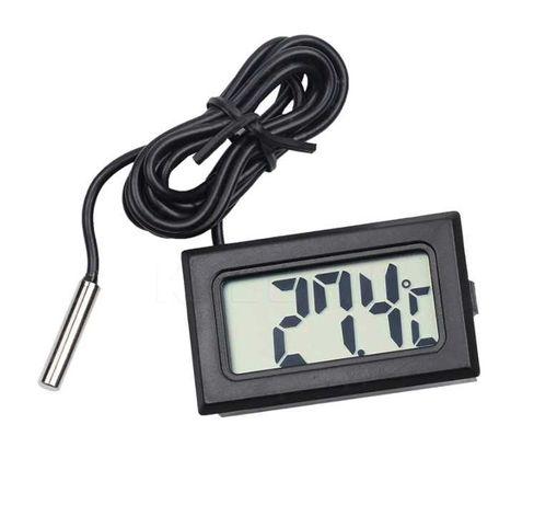 Termómetro LCD digital, com sonda, preto, de embutir