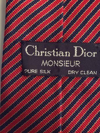 Шелковый винтажный галстук Сhristian Dior классика