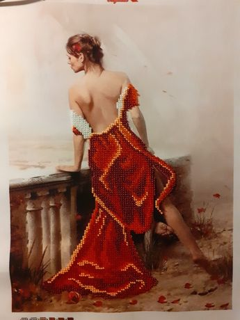 Картина бисером.  Девушка в красном платье.