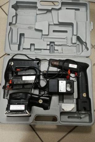 Zestaw narzędzi akumulatorowych- wiertarka, wyrzynarka, szlifierka.