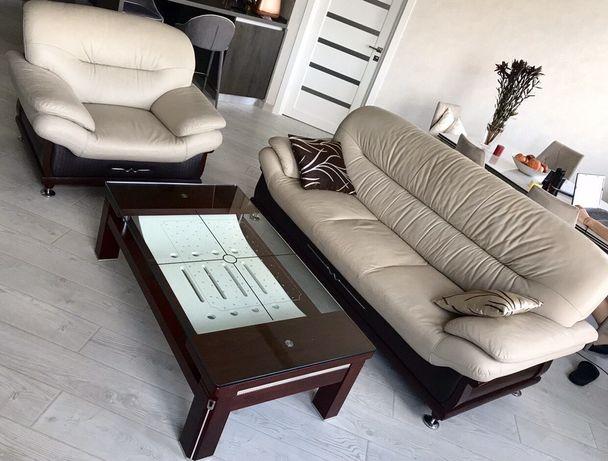Итальянский Кожаный диван + кресло, стол