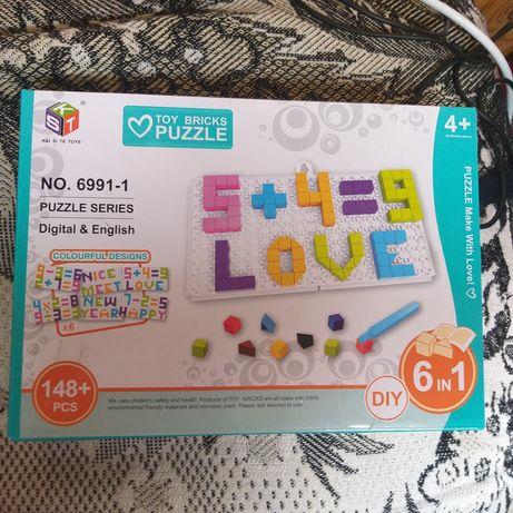 Toy bricks puzzle 4+ пазлы мозайка пластмассовые буквы и цифры