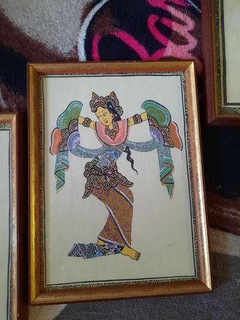 Obrazki. Tancerki z Bali. Indonezja. Malowane ręcznie.
