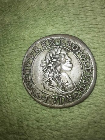 Stara moneta VI krajcarów z 1673r, srebro