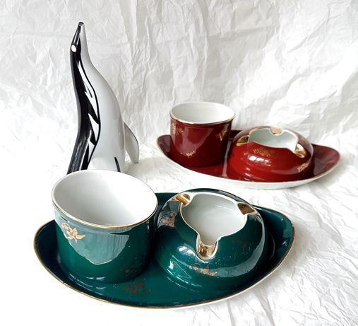 Ćmielów zestaw palacza morska zieleń. PRL, vintage, porcelana