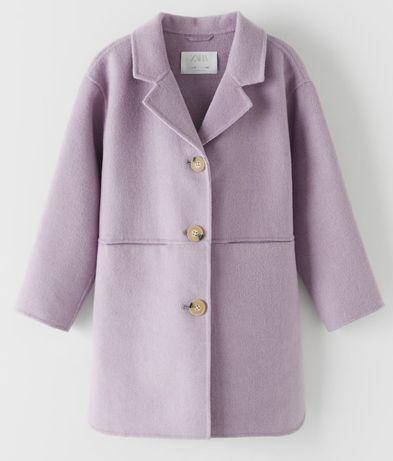 Płaszcz płaszczyk z kołnierzem wiosenny flausz Zara roz. 128 liliowy