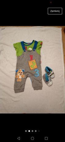 Zestaw ogrodniczki, body- Fisher Prince, koszulka buciki