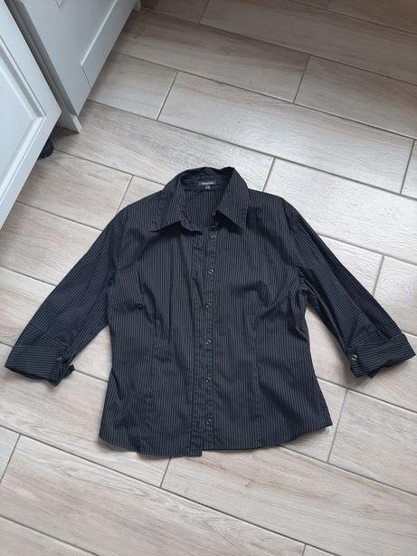 Czarna koszula w cienkie biale paski Street One