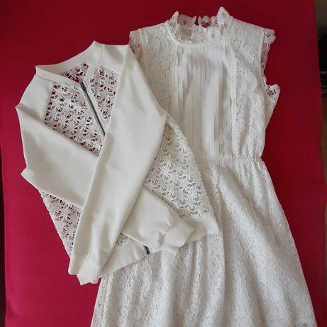 Sukienka i sweter r. 134 - 140 ecru