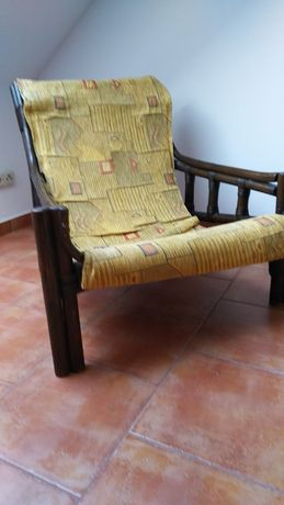 Fotel drewniany oryginał rattanowy