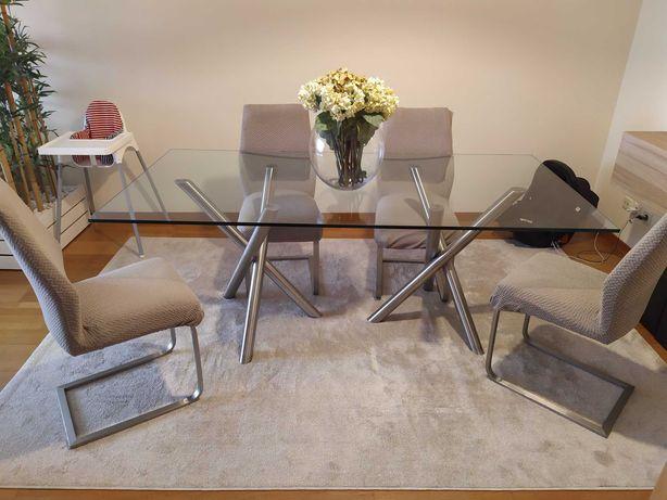 mesa sala vidro temperado 200 x 100 cm, pés Inox + 4 cadeiras