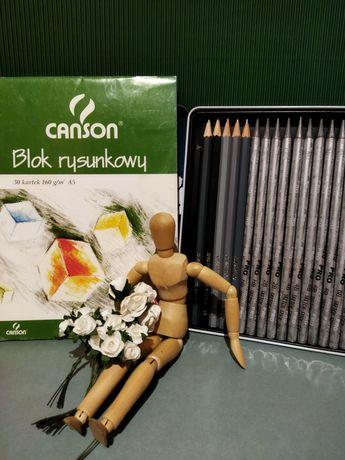 Zestaw rysunkowy - model do rysunku, ołówki 17 szt., blok rysunkowy A5