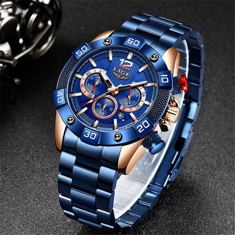 Męski zegarek LIGE + Sportowy niebiesko-czerwony silikonowy pasek