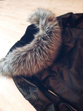 Skórzany płaszcz damski ocieplany rozmiar S