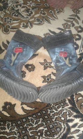 Теплые зимние ботинки сапожки натур кожа и мех
