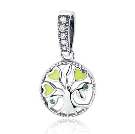 Charms PANDORA srebro 925 zawieszka wisząca drzewo życia zielona emali