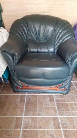 Sofá 3 lugares + 2 sofás individuais, pele verdadeira, estilo clássico