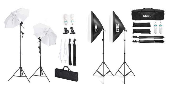 Kit luzes estúdio guarda chuvas + softboxes + 4 lâmpadas