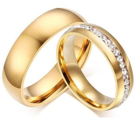Aliança Anel em Titânio cravada de Zircónias folheada Ouro 18k Fernão Ferro - imagem 1