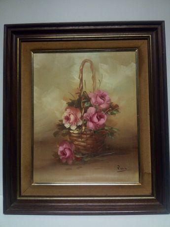 Pintura em óleo sobre tela - Natureza morta - cesto com rosas-assinada