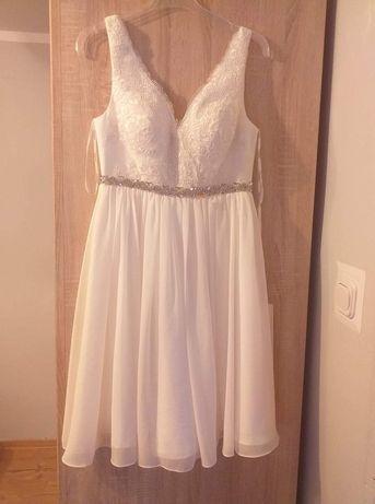 Sukienka biała elegancka koronka 36 tiulowa