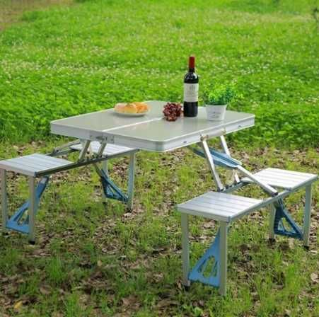 Aluminium Picnic - алюминиевый стол / для сада и 4 стула, складной /