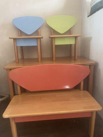 Набор столик 2 стульчика натуральное дерево