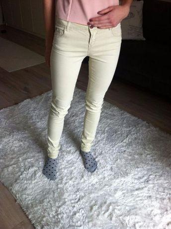 Beżowe nude spodnie Zara 34 xs jak nowe jesienne
