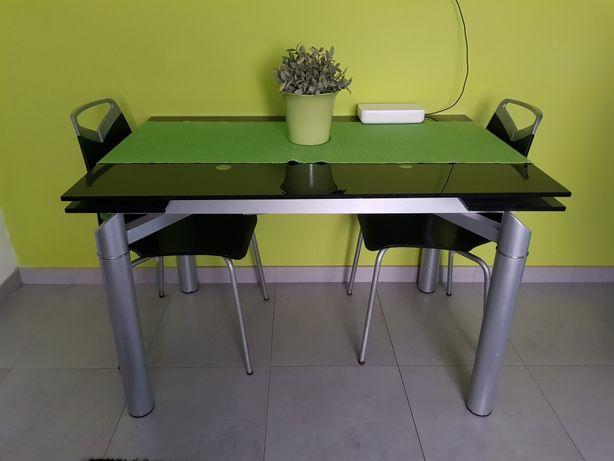 Mesa de cozinha em vidro extensível + 4 cadeiras