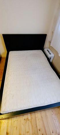 Łóżko MALM rama i materac 160×200 brąz