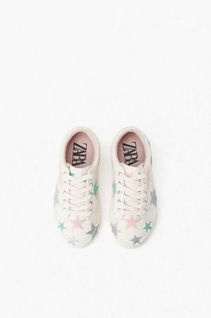 Стильные белые кроссовки для девочки с блестящими звёздами, Zara, 35