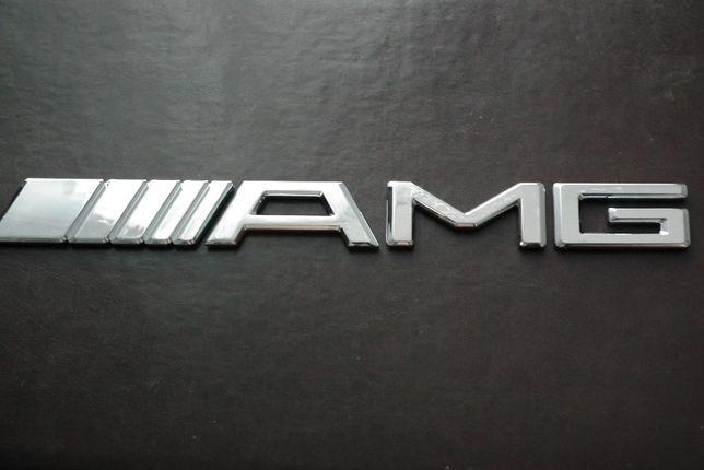 Emblemat chrom logo znaczek 3d AMG mercedes 195mm x 20mm NOWY