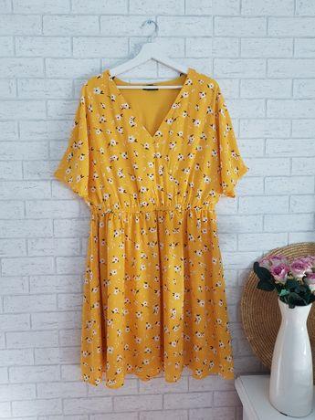 Żółta sukienka w kwiaty roz 50 5XL Asos nowa
