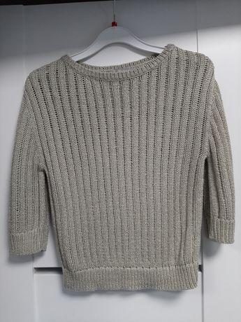 Sweterek , rekaw 3/4 , przeplatany zlota nitka