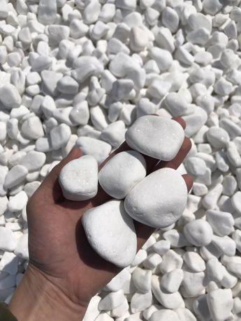 Grecki Śnieżnobiały Otoczak Biały Kamień do Ogrodu Grys Żwir Kruszywo