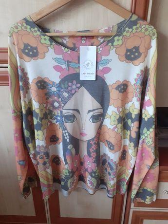 Nowy włoski swetr z modnym motywem r.Uni