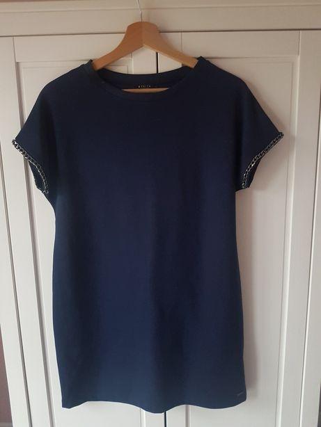 Sukienka MOHITO rozmiar S granatowa elegancka oversize mini