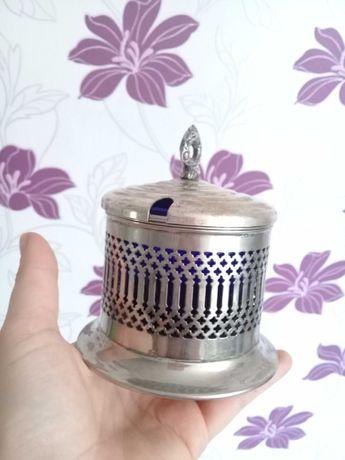 Stara srebrna angielska cukiernica
