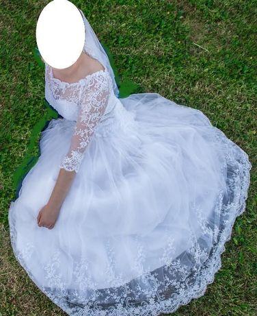 Przepiękna suknia ślubna+halka na kole i welon gratis