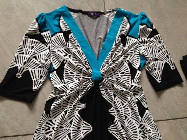 Sukienka czerń biel błękit wzory L XL