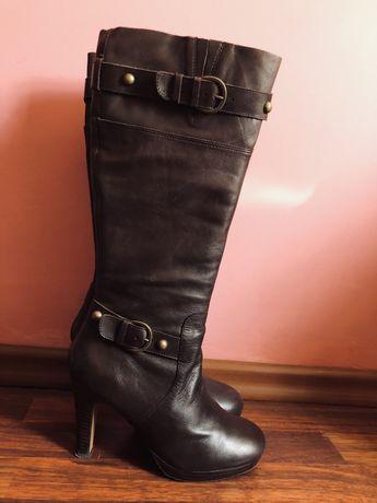 Сапоги кожаные коричневые женские 40 из США демисезонные осенние