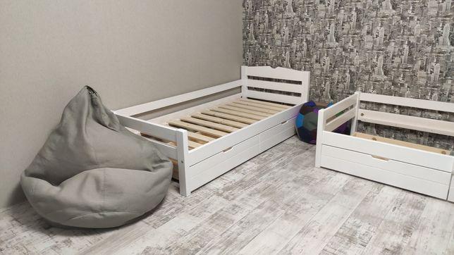 Дитяче ліжко, детская кровать из дерева, дерев'яне односпальне ліжко
